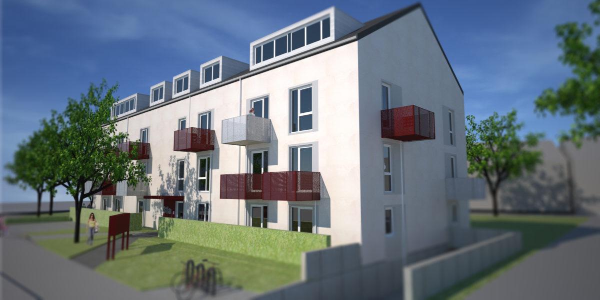 Bruckenerstraße, Fassade, Satteldach, Putz, Sonderlochung, Mehrfamilienhaus